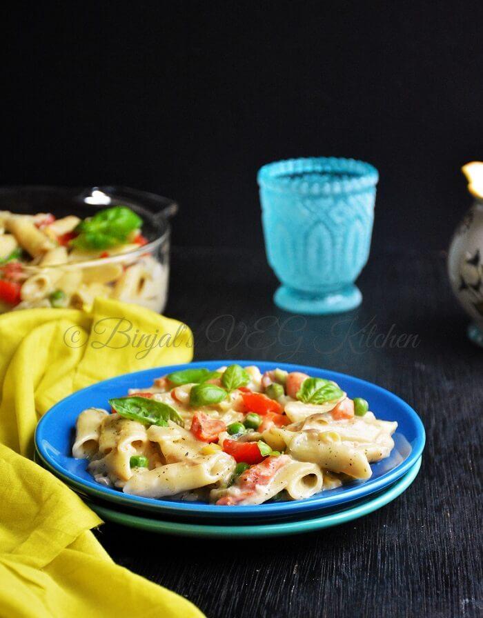 Vegetable Pasta in White Sauce