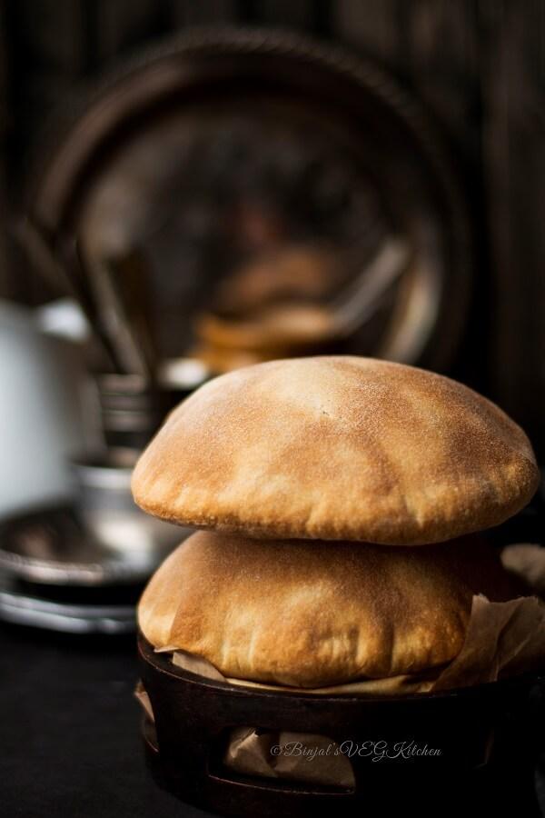 Homemade Whole Wheat Pita Bread Photography