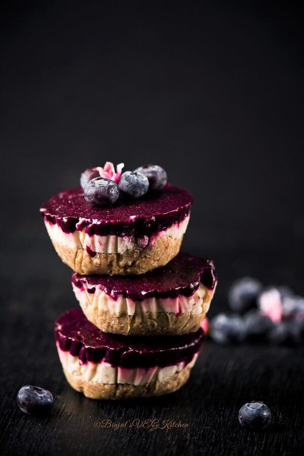 Blueberry Vegan Cheesecake Photography