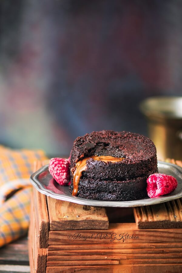 2 Minutes Microwave Eggless Molten Lava Cake Photography