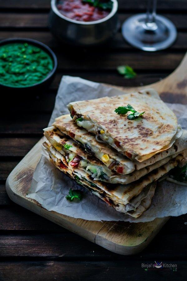 Veggie Cheesy Corn Quesadilla Photography