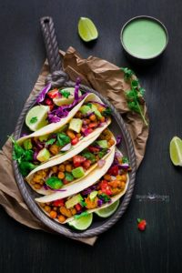 Roasted Chickpeas and Cauliflower Tacos