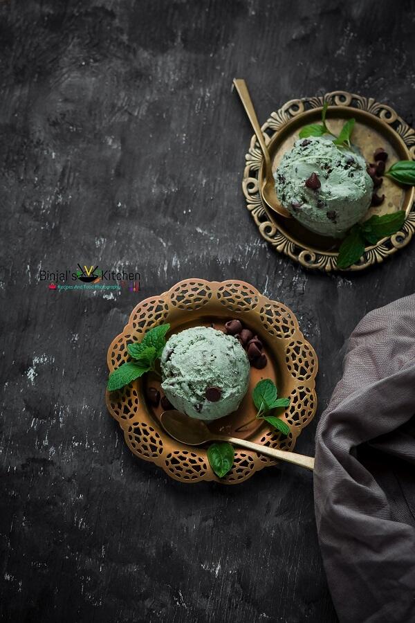 Basil Mint Chocolate Chips Ice Cream