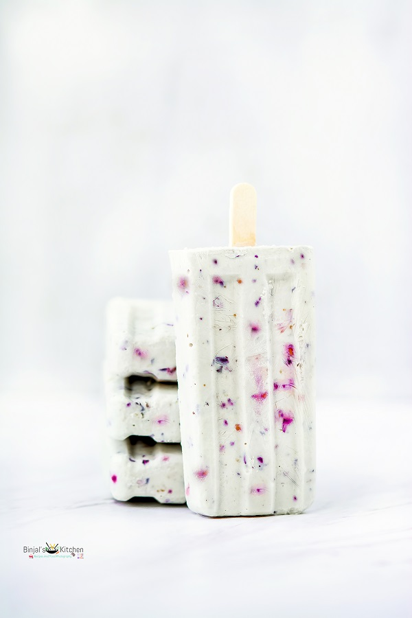 Cashew Coconut and Berry Popsicles